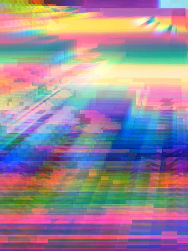 Colourful Glitched abstract digital ART work printed in A1 paper size with margins for framing