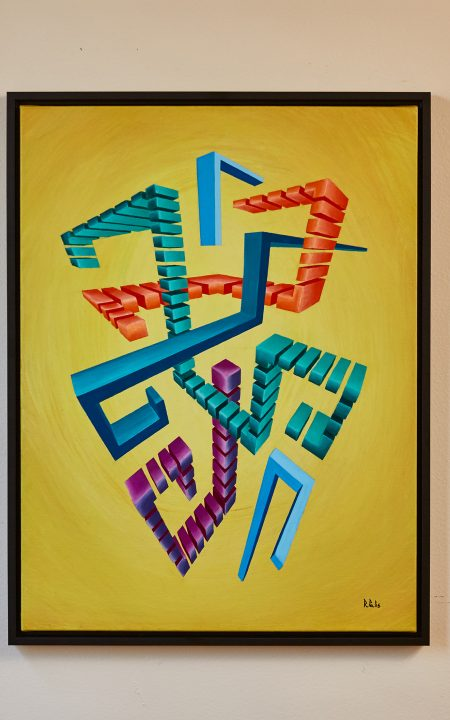 Quoize Award-Winner Original Augmented Reality sculpture over acrylic on canvas Artwork colourful abstract geometric colourful glitched centred composition over mustard background