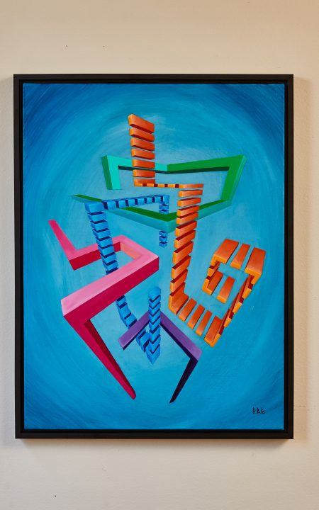 Andromo Award-Winner Original Augmented Reality sculpture over acrylic on canvas Artwork colourful abstract geometric colourful glitched centred composition composition over cyan background