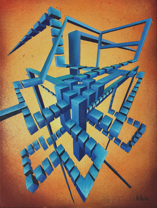 Spectro Award-Winner Original Augmented Reality sculpture over oil on wood Artwork colourful abstract geometric glitched composition