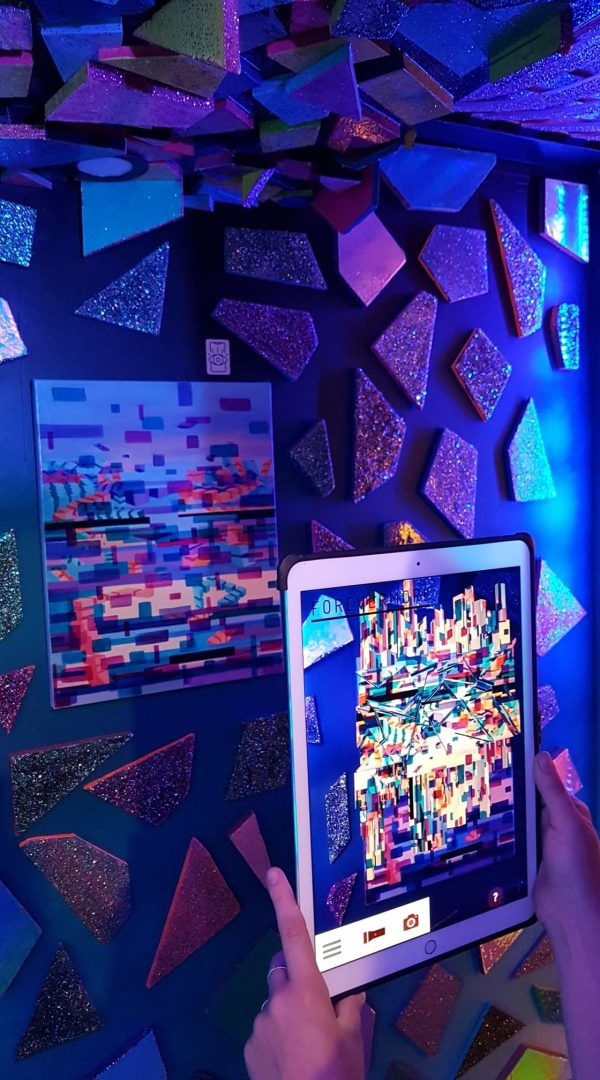 Immersive Art Installation Exhibition at Universal Music Fun House Toronto with Episode1st Augmented Reality sculpture over oil on canvas