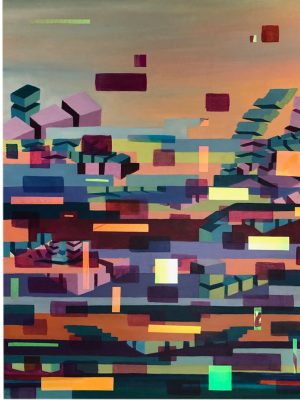 Episode 3rd Original oil on wood Art work colourful abstract geometric glitched composition