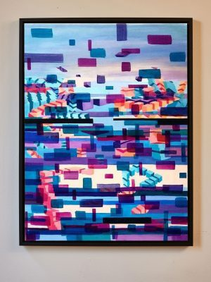 Glitched abstract squares oil on canvas ART work with Augmented Reality sculptures embedded activated by Artmented app.