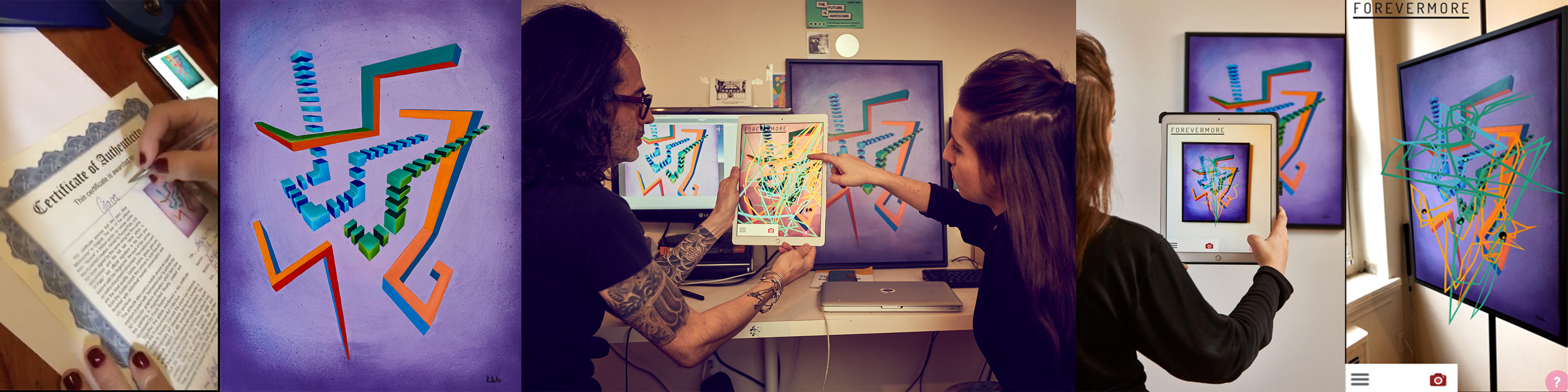 Artist in studio creative art process, Augmented Reality Art, Artist Collector