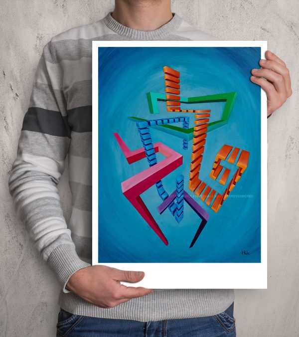 Centred geometric Glitched abstract squares in colourful composition in a fade blue background ART work A3 size printed with Augmented Reality sculptures embedded activated by Artmented app.