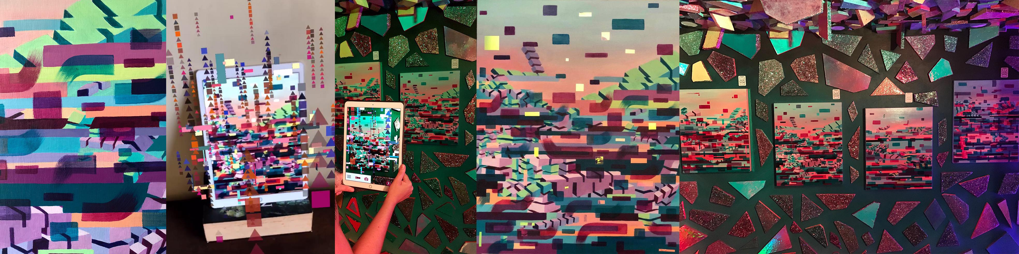 Artist in studio creative art process, Augmented Reality Art exhibition