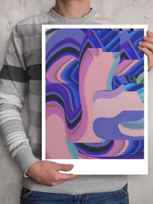 Colourful Glitched abstract digital ART work printed in A3 paper size with margins for framing