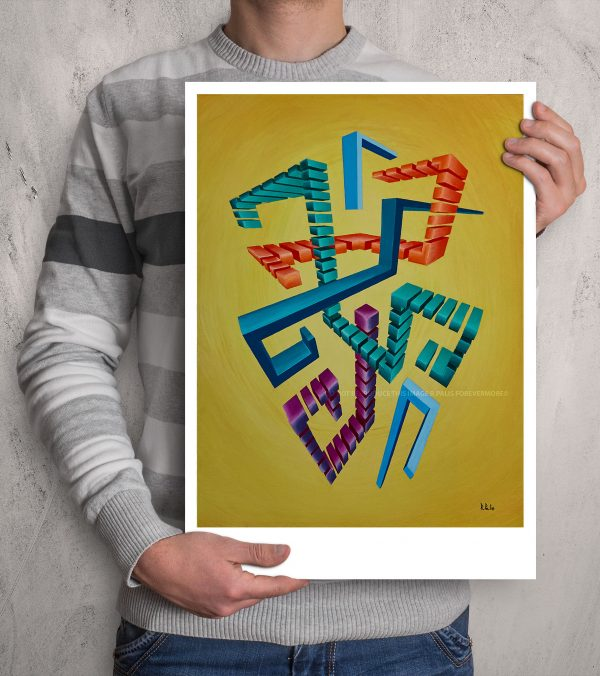 Centred geometric Glitched abstract squares in colourful hues composition in a fade mustardbackground ART work A3 size printed with Augmented Reality sculptures embedded activated by Artmented app.