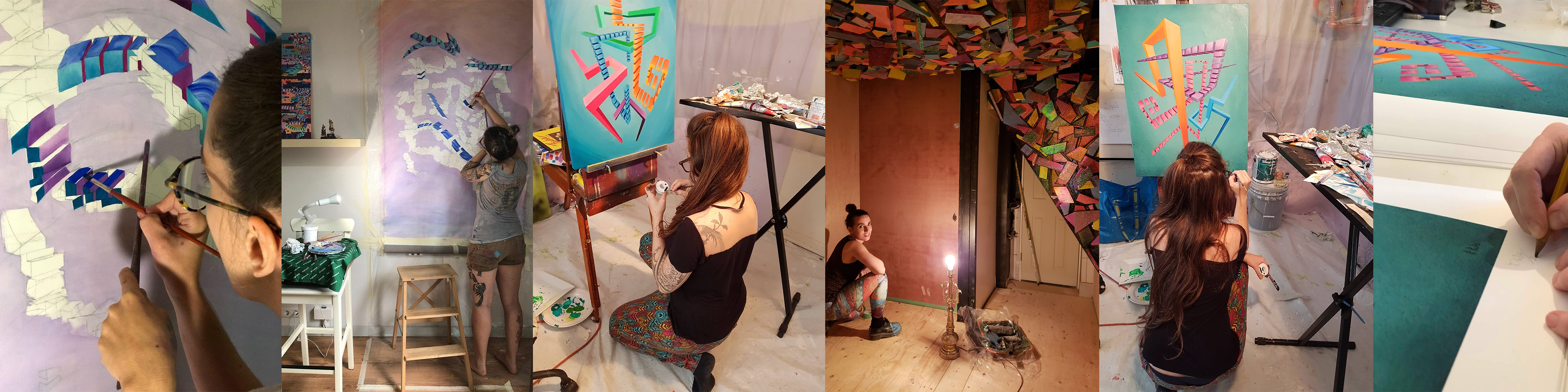 Artist in studio creative art process