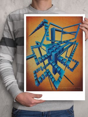 Centred geometric Glitched abstract squares in cyan hues composition in a fade orange background ART work A3 size printed with Augmented Reality sculptures embedded activated by Artmented app.