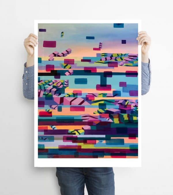 Glitched abstract squares ART work A1 printed with Augmented Reality sculptures embedded activated by Artmented app.