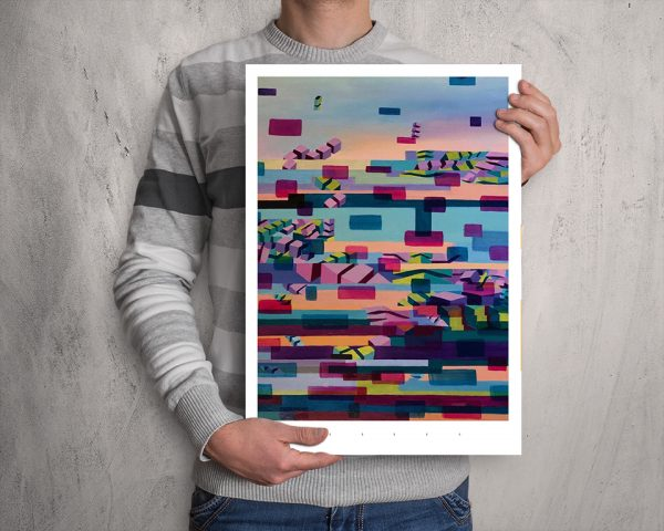 Glitched abstract squares ART work A3 printed with Augmented Reality sculptures embedded activated by Artmented app.