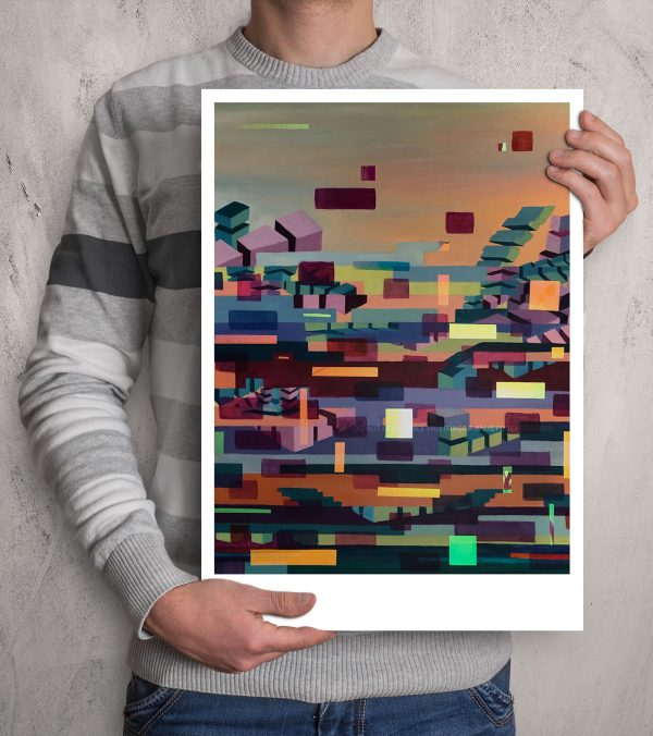 Glitched abstract squares ART work A3 size printed with Augmented Reality sculptures embedded activated by Artmented app.