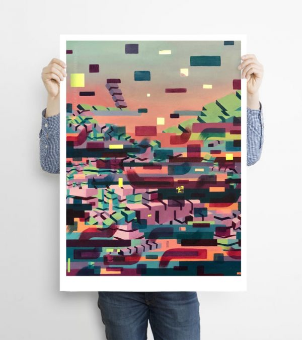 Glitched abstract squares ART work A1 size printed with Augmented Reality sculptures embedded activated by Artmented app.