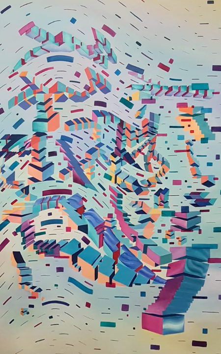 Glitched abstract squares ART work painted on Oil on canvas with Augmented Reality sculptures embedded activated by Artmented app.